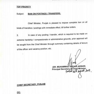 Ban on All Transfer Posting 2019 in Punjab by CM Punjab