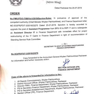Notification of Upgradation and Redesignation of Assistant Programmer as Assistant Director IT