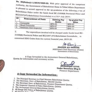 Notification of Upgradation of Balochistan Police Constables. Head Constable and ASI
