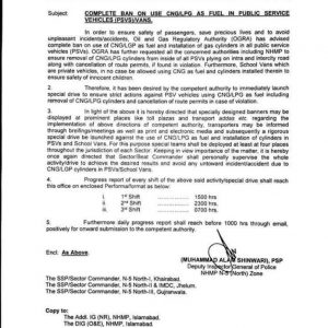 Complete Ban on Use CNG LPG as Fuel in Public Service Vehicles / Vans
