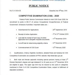 Notification of Schedule of Competitive Examination CSS 2020