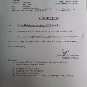 Notification of Eid-ul-Azha Holidays 2019 WAPDA