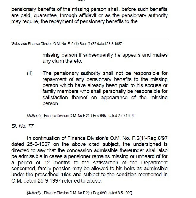Family Pension for 12 Months Missing Persons