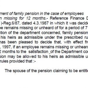 Family Pension for Missing Persons for a Period of 12 Months