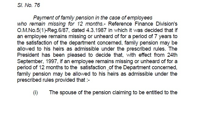 Family Pension for Missing Persons