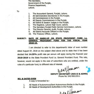 Notification of GP Fund Interest Rates 2019 Punjab Government
