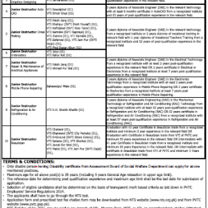 Jobs for Disable Persons in PVTC