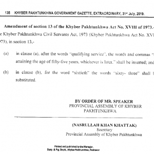 Khyber Pakhtunkhwa Civil Servants (Amendment) Act 2019