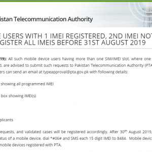 Registration of Mobile Devices with Double SIMS (1 IMEI Registered and 2nd Not Registered)