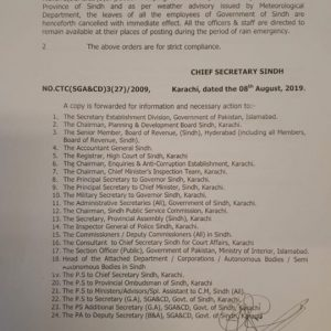 Notification of Eid-ul-Azha Holidays Sindh 2019
