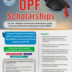 OPF Scholarships for Overseas Pakistanis Children under OPEF