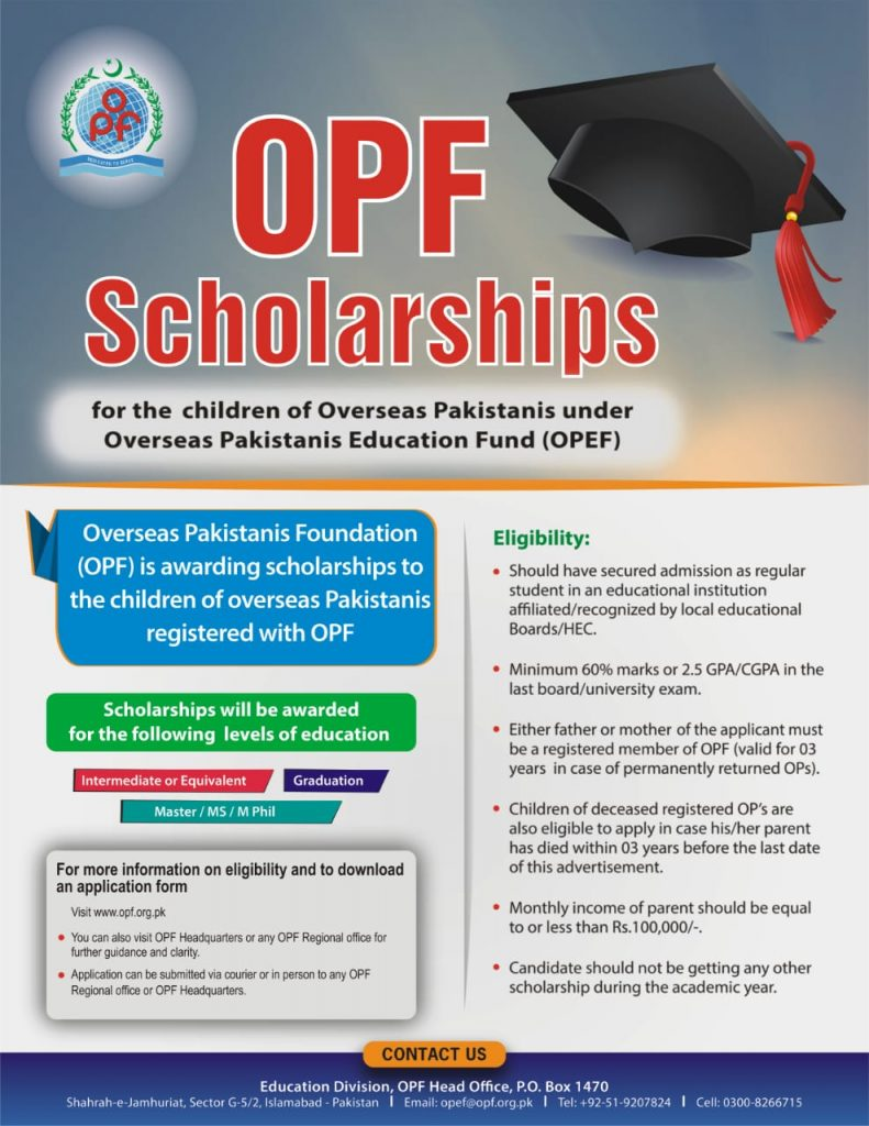 OPF Scholarships for Overseas Pakistanis