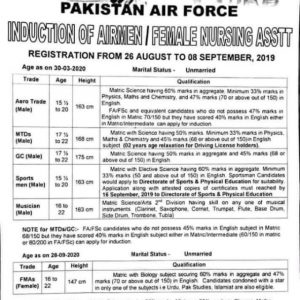 Pakistan Air Force Jobs 2019 (PAF Jobs 2019) August /September 2019