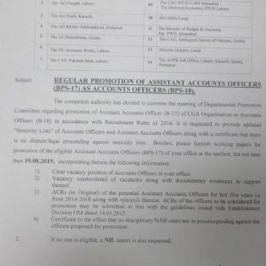 Regular Promotion Assistant Accounts Officers as Accounts Officers BPS-18