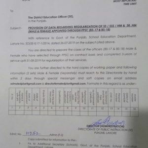 Regularization BPS-17 & 18 Teaching Staff Appointed through PPSC-Provision of Data