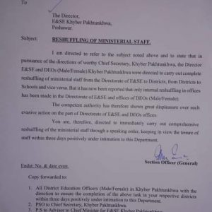 Notification of Reshuffling of Ministerial Staff KPK