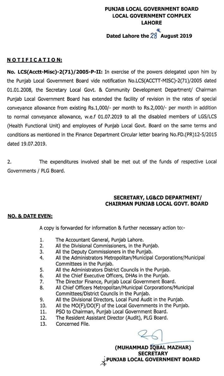 Special Conveyance Allowance Local Govt