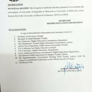 Re-Constitute Sub-Campus of University of Sargodha as University of Mianwali