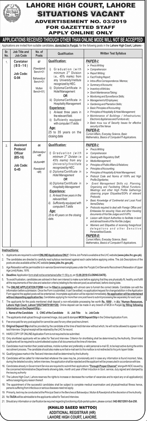Vacancies in Lahore High Court