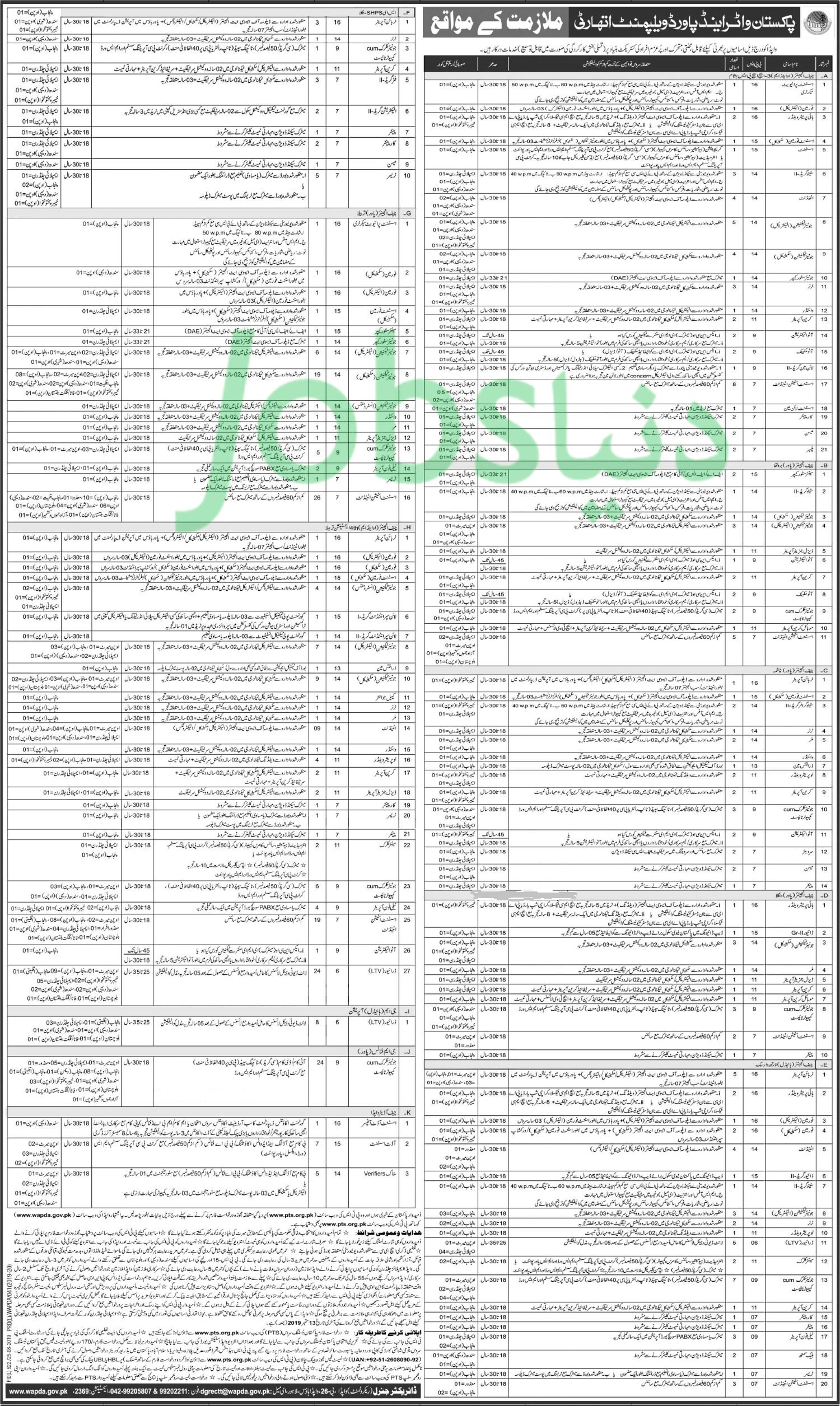 Vacancies in WAPDA 2019 through Pakistan Testing Service