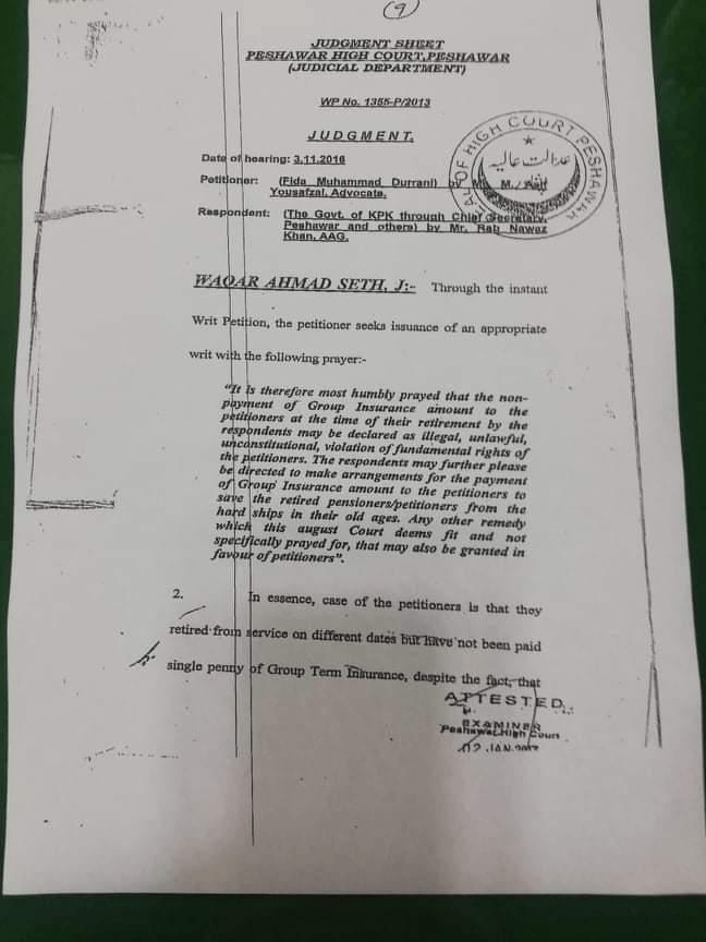 Peshawar High Court orders on Group Insurance