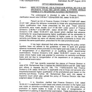Notification by Finance Division Regarding Advance Increments on Acquiring Higher Qualification