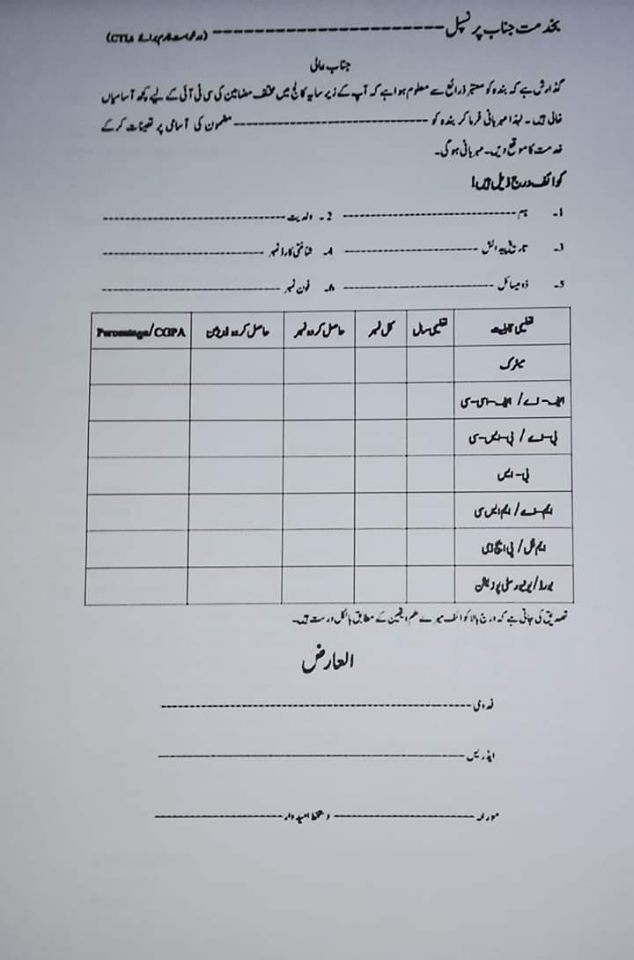 Job Application form in Urdu