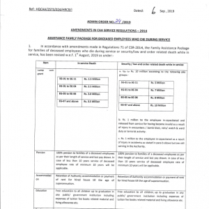 Notification of Assistance Family Package CAA Deceased Employees