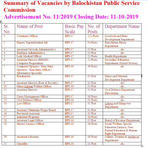 BPSC Vacancies in Different Departments Vide Advertisement No. 11/2019
