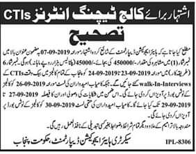 College Teaching Interns CTIs Advertisement 2019 Salary 45000/-