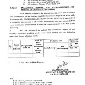 Evaluation Report for Regularization of Services of Contract Employees