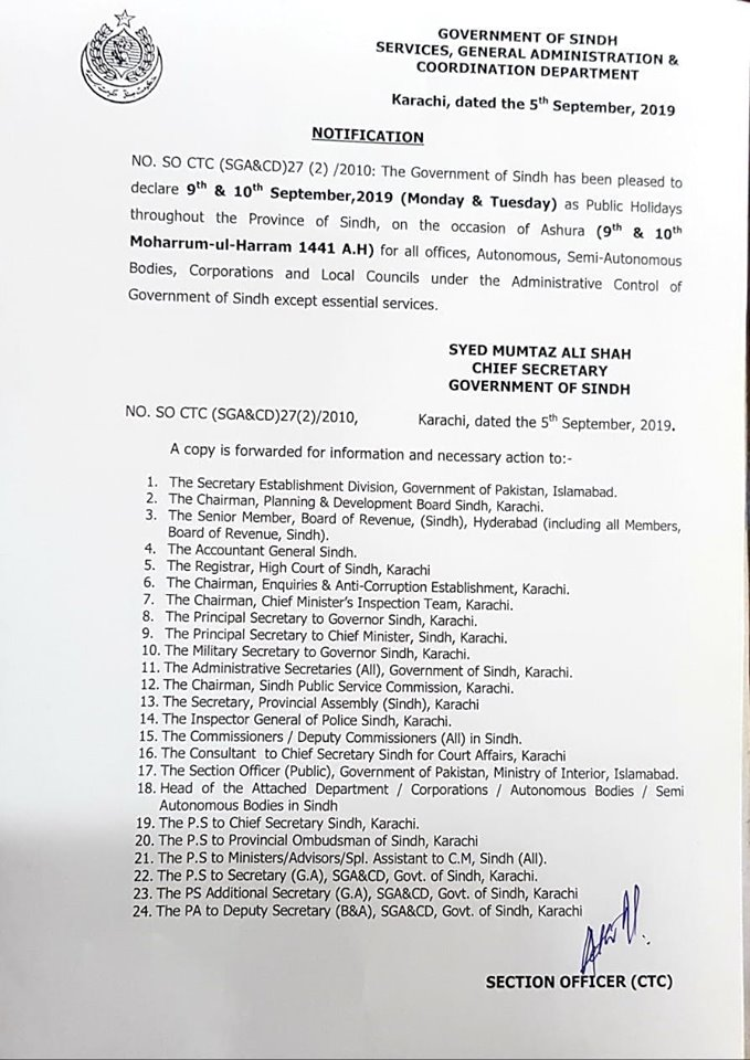 Notification of Holiday on 9th and 10th September 2019 Sindh