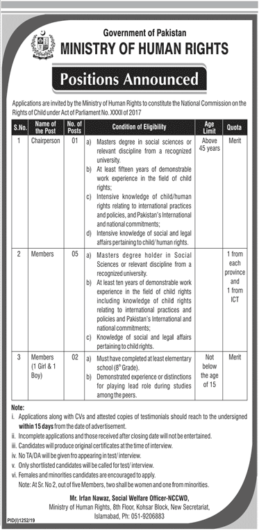 Jobs in Islamabad Ministry of Human Rights