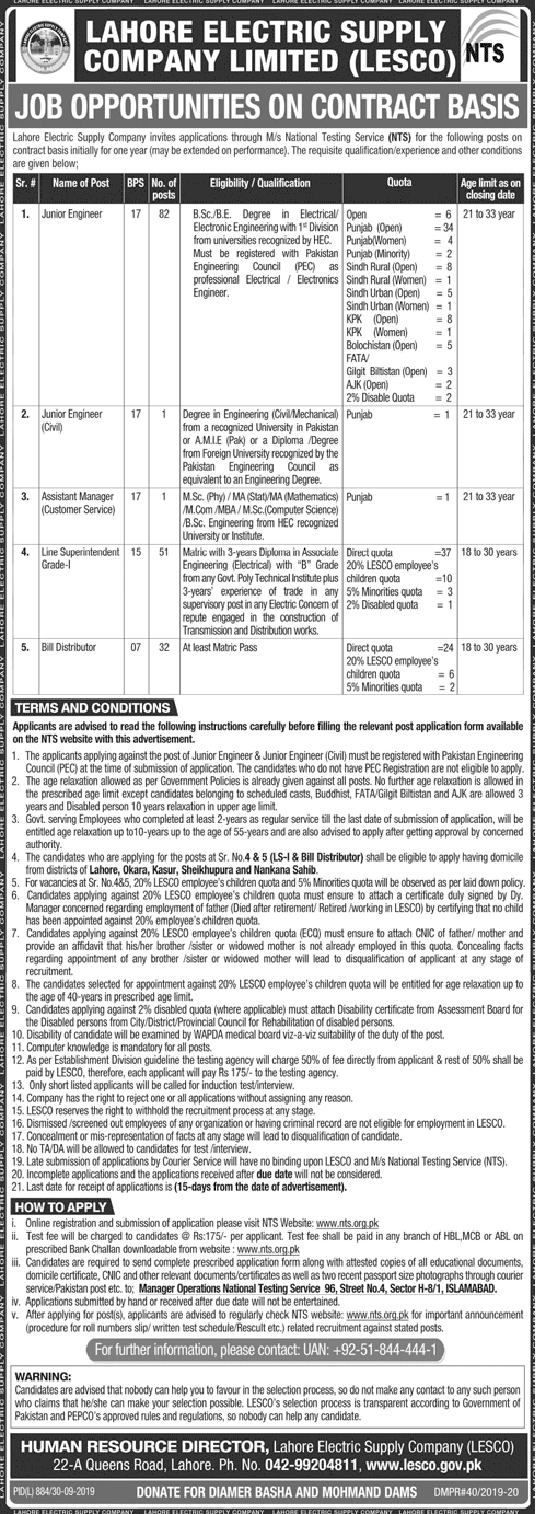 Jobs in LESCO 2019 through National Testing Service