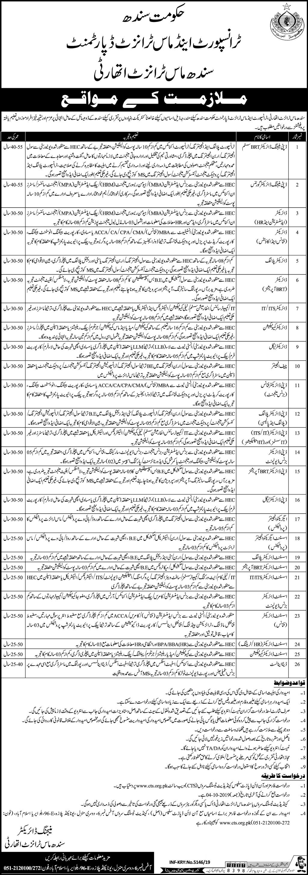 Jobs in Transport and Mass Transit Department Sindh
