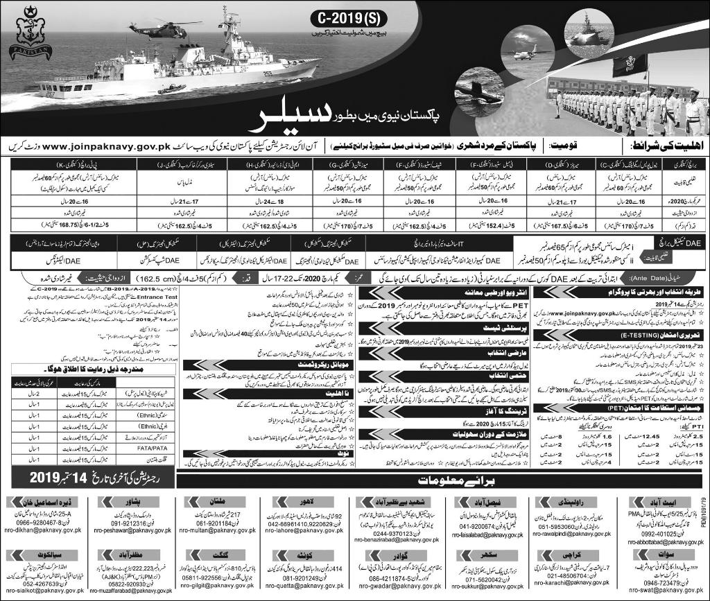 Jobs in Pakistan Navy as Sailor