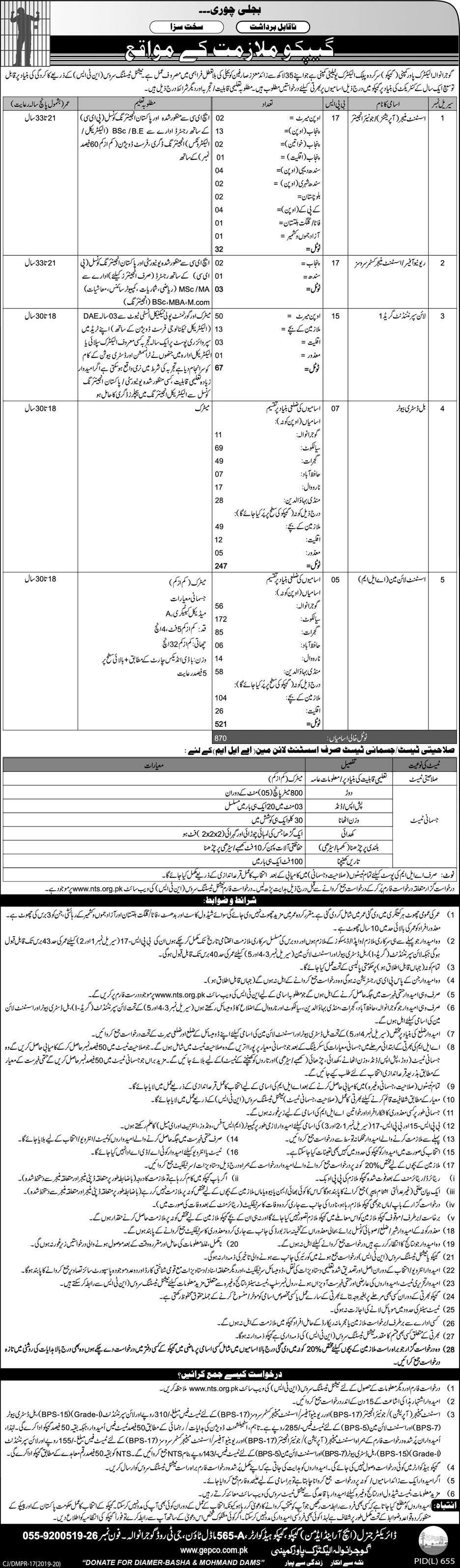 NTS Jobs 2019 in GEPCO