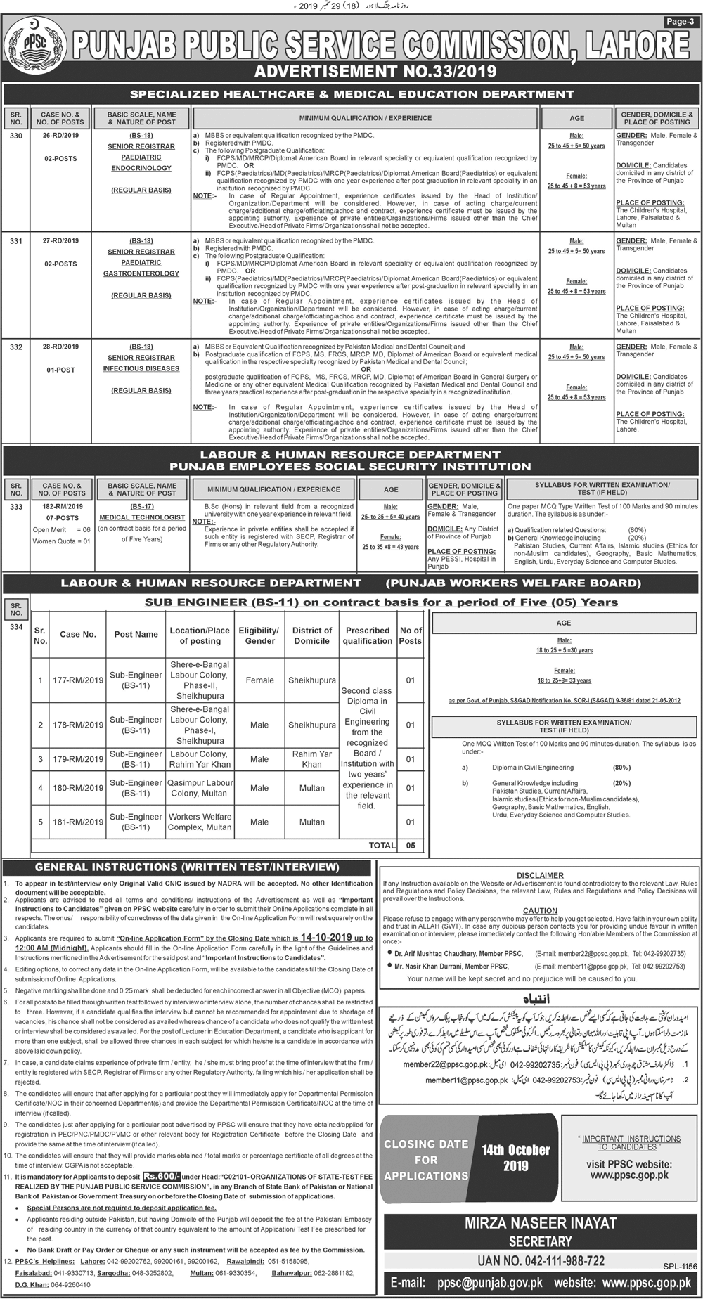PPSC Educators Jobs 2019 in Rawalpindi & Mianwali
