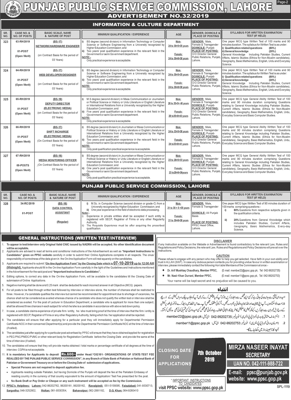 PPSC Vacancies 2019 Advertisement