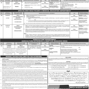 PPSC Vacancies 2019 in Agriculture Department and Others Advertisement No. 28/2019