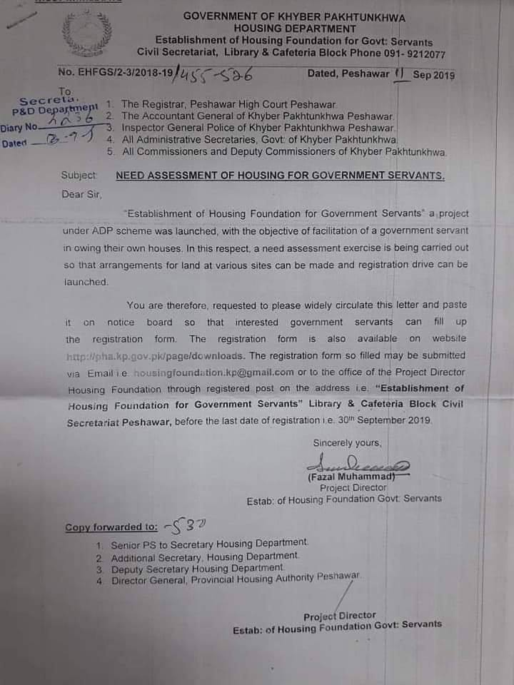 Plots and Houses for KPK Govt Employees