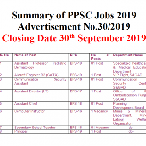 Punjab Public Service Commission Jobs 2019 Advertisement No. 30/2019