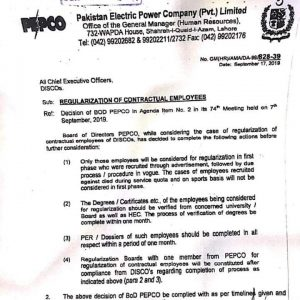Regularization of Contractual Employees of DISCOs