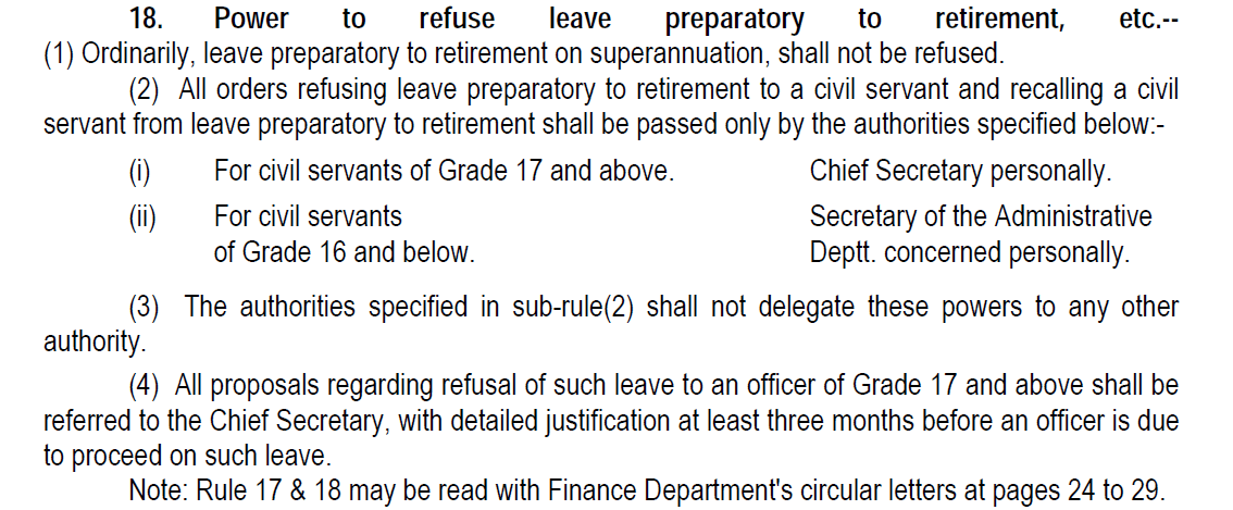 Rule 18 Revised Leave Rules