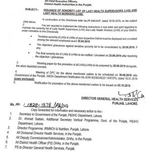 Issuance of Seniority List lady Health Supervisors & Lady Health Workers (LHS & LHW)