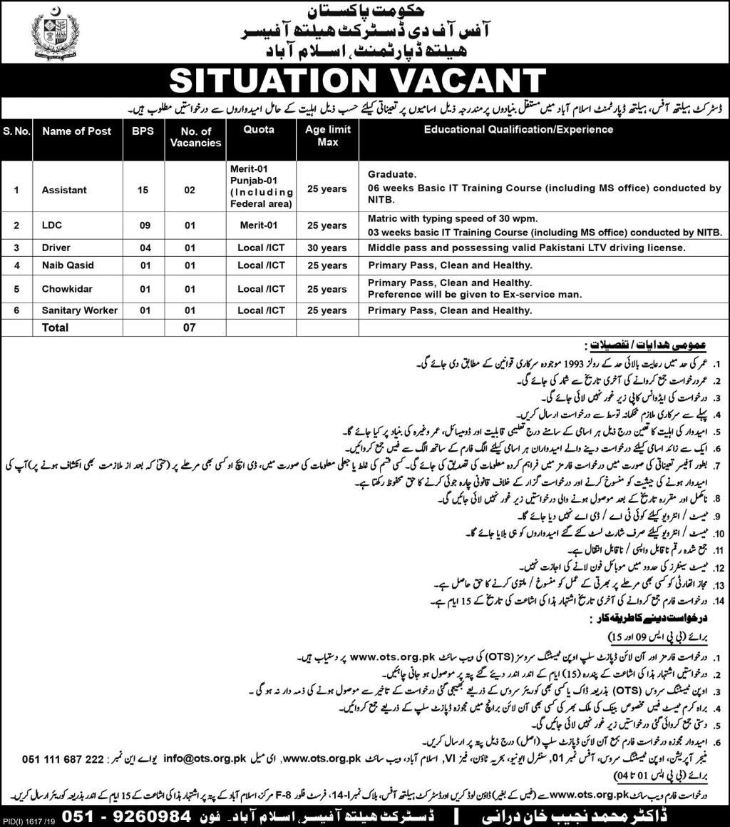 Situation Vacant in District Health Office