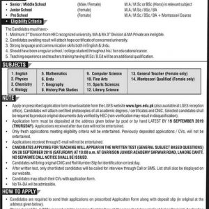 Teaching Jobs in Lahore Garrison Education System (LGES)
