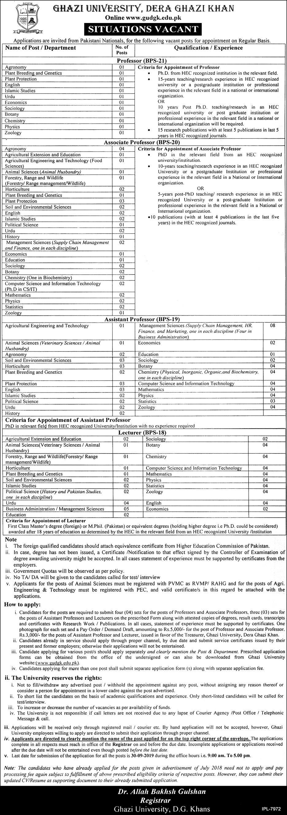 Teaching Staff Vacancies Ghazi University