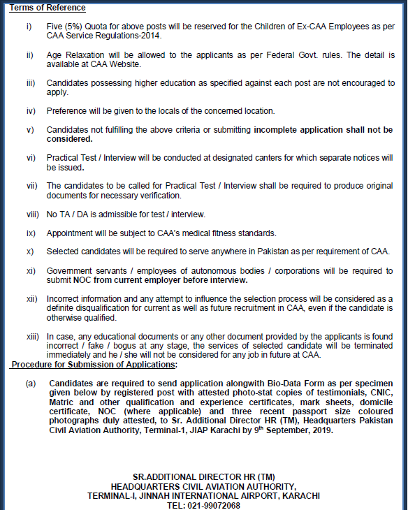 Vacancies in CAA 2019