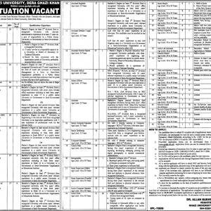 Vacancies in Ghazi University DG Khan 2019